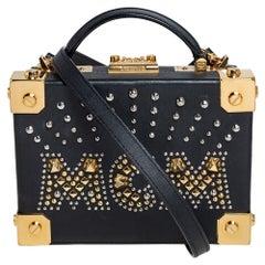 MCM Black Leather Studded Embellished Berlin Box Bag