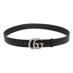 Gucci Black Leather GG Marmont Buckle Belt 110CM