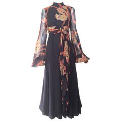 1970s CARDINALI Black and Orange Tie dye Silk Chiffon Maxi Dress