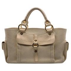 Celine Beige Leather Boogie Tote Bag Satchel Handbag