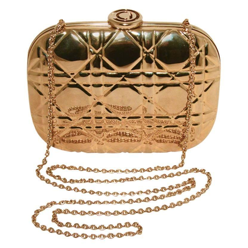 Very Chrisian Dior Gold Cannage Metal Clutch Evening Bag For Sale at  MO43