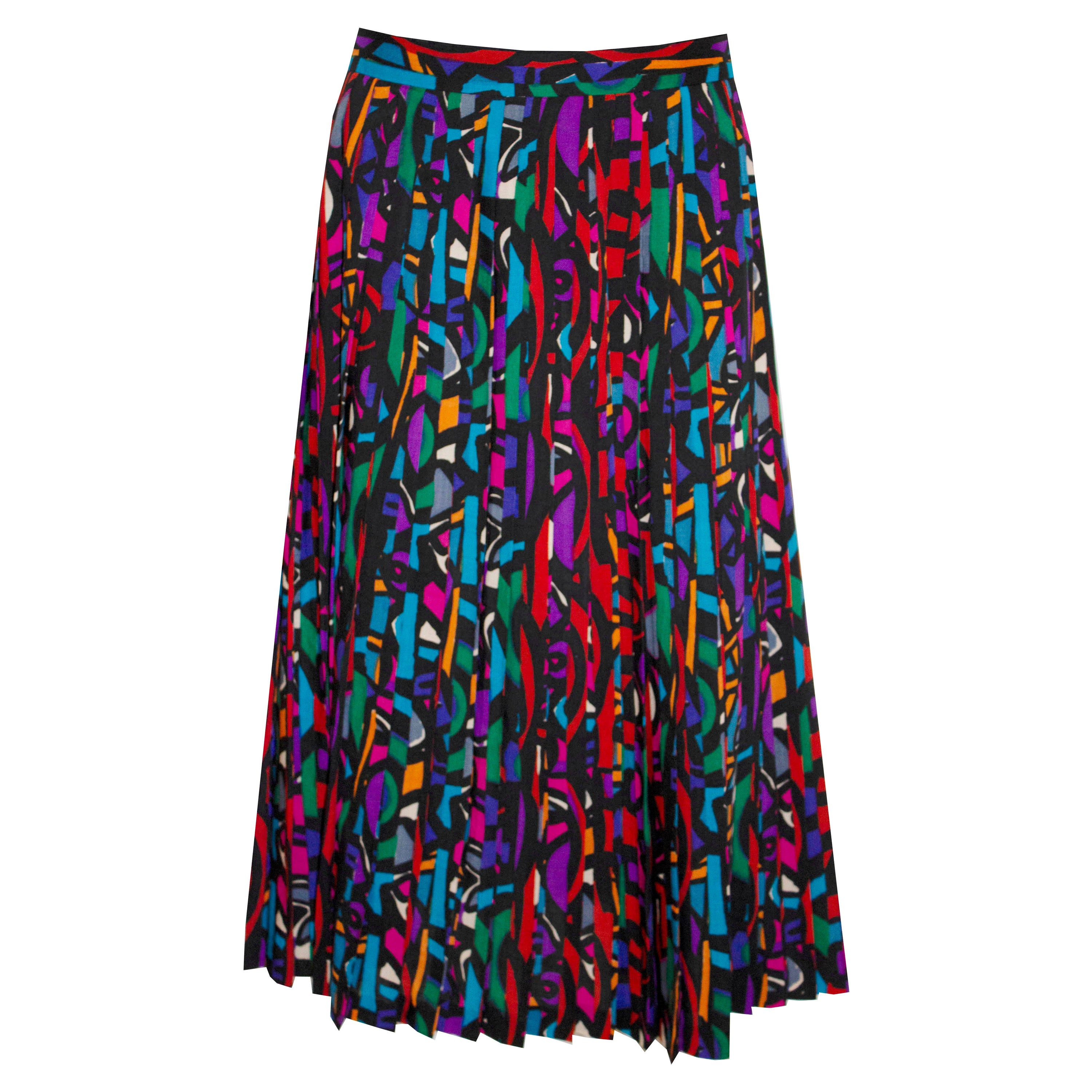 Vintage Jaeger Skirt  in a Pleated Print