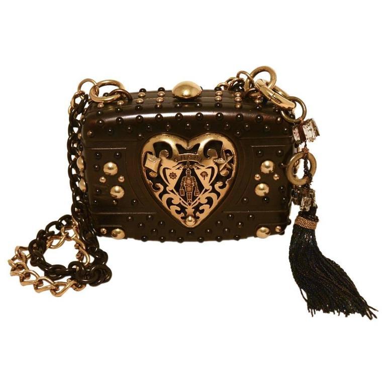 Gucci Studded Gunmetal Knights Armor Heart Box Handbag RUNWAY For Sale