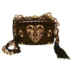 Gucci Studded Gunmetal Knights Armor Heart Box Handbag RUNWAY