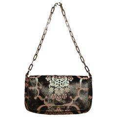 Gucci Iridescent Filagree Patterned Black Pony Hair Baguette