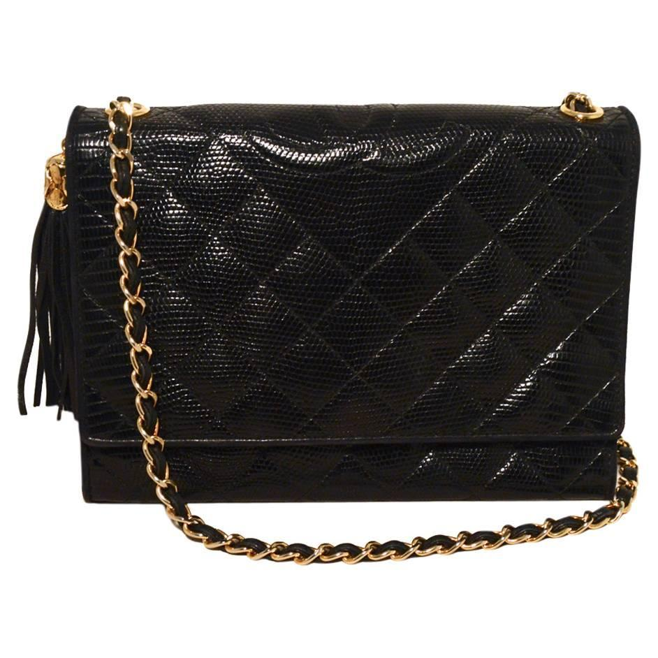 Chanel Vintage Black Lizard Leather Side Tassel Shoulder