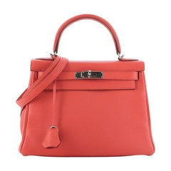 Hermes Kelly Handbag Capucine Togo with Palladium Hardware 28