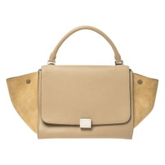 Celine Beige Leather and Suede Medium Trapeze Top Handle Bag