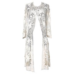 """1900's hand made coat in """"Du Puy"""" lace, lace embroidery on a tulle base"""
