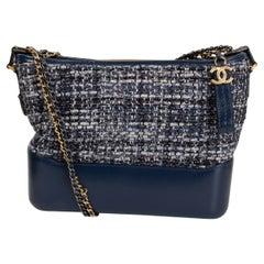 CHANEL blue leather TWEED GABRIELLE HOBO Shoulder Bag