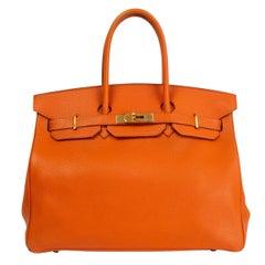 HERMES orange Clemence leather BIRKIN 35 Tote Bag Gold