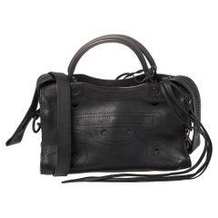 Balenciaga Black Leather Motocross Blackout City S Bag