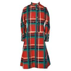 "Dress-suit  in wool tartan with ""trompe l'oeil"" vest overlay GALANOS"