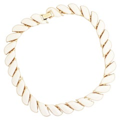Gold & Cream Enamel Articulated Link Choker Necklace By Napier, 1980s