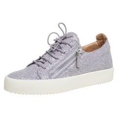 Giuseppe Zanotti Grey Glitter Low Top Sneakers Size 41