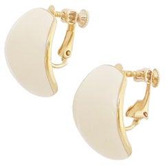 Gold & Cream Enamel Chunky Huggie Hoop Earrings By Napier, 1980s