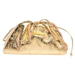 Bottega Veneta Gold Leather Mini The Pouch Shoulder Bag