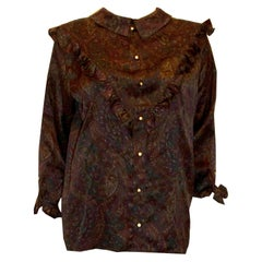 Vintage Paisley Print Silk Shirt with Interesting Collar and Frill Detail