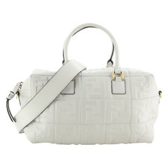 Fendi Boston Bag Zucca Embossed Leather Medium