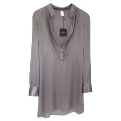 Gray Silk Big Shirt / Tunic Dress - NWT