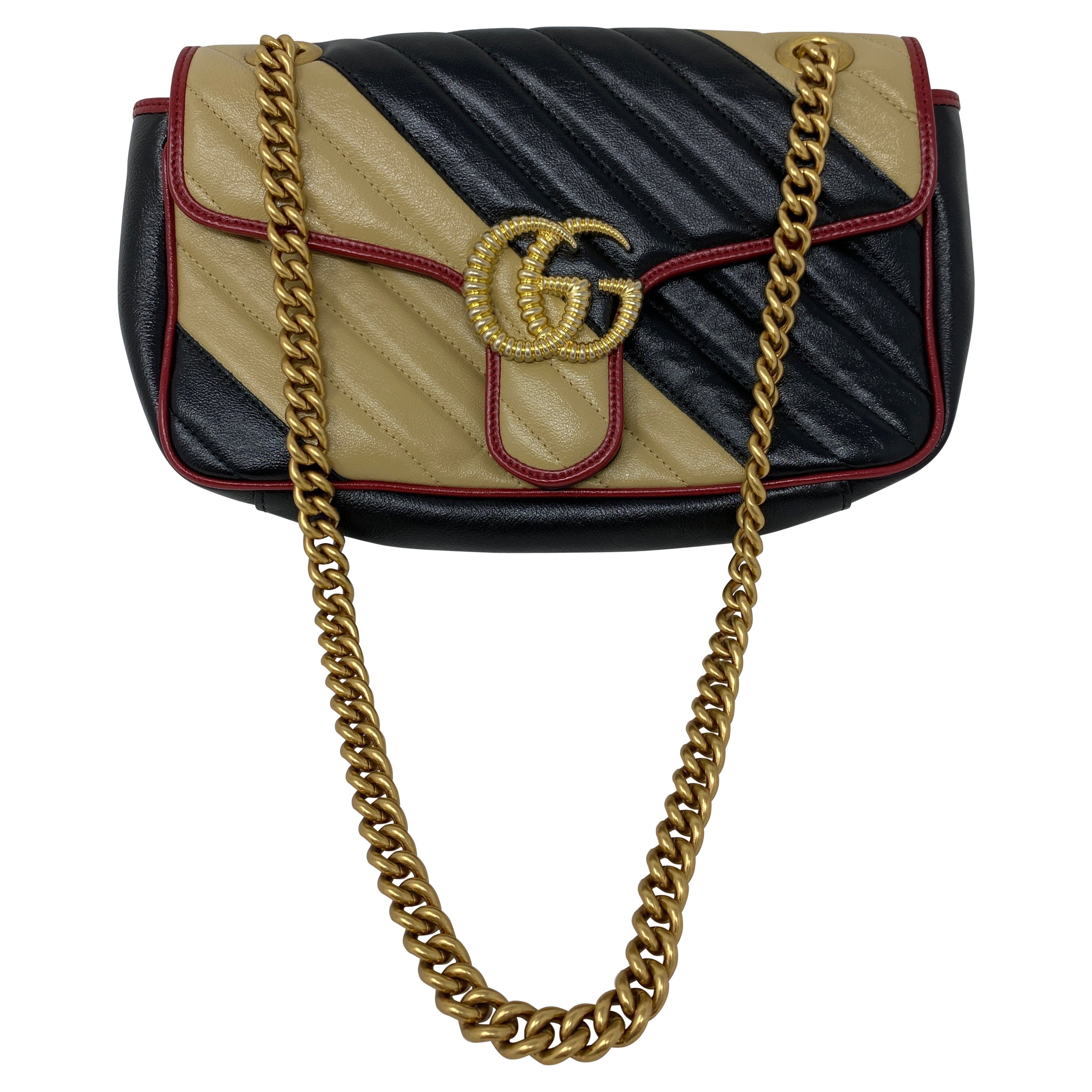 Gucci Red and Black Marmont Bag