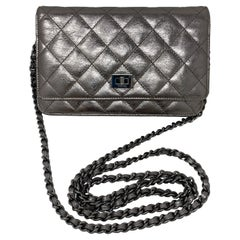 Chanel Silver Metallic Reissue Wallet On A Chain Bag