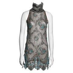 Gianfranco Ferre silver lamé lace embellished mini dress, ss 2006