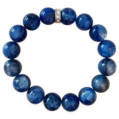 Vibrant Blue Kyanite and Swarovski Crystal 12mm Beaded Stretch Stacking Bracelet