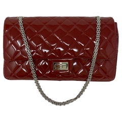 Chanel Red Jumbo Patent Reissue Leather Bag