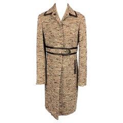 MONIQUE LHUILLIER Size 10 Multi-Color Tweed Wool Blend Coat