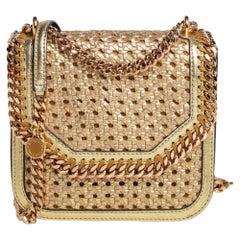 Stella McCartney Metallic Woven Leather Medium Box Shoulder Bag