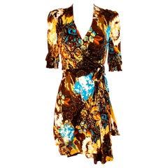 Boho Print yellow brown Silk Wrap Dress  - NWT Flora Kung