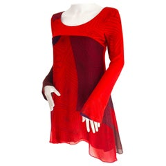 Red Scribble Print Mix Media Silk Boho Dress  - NWT Flora Kung