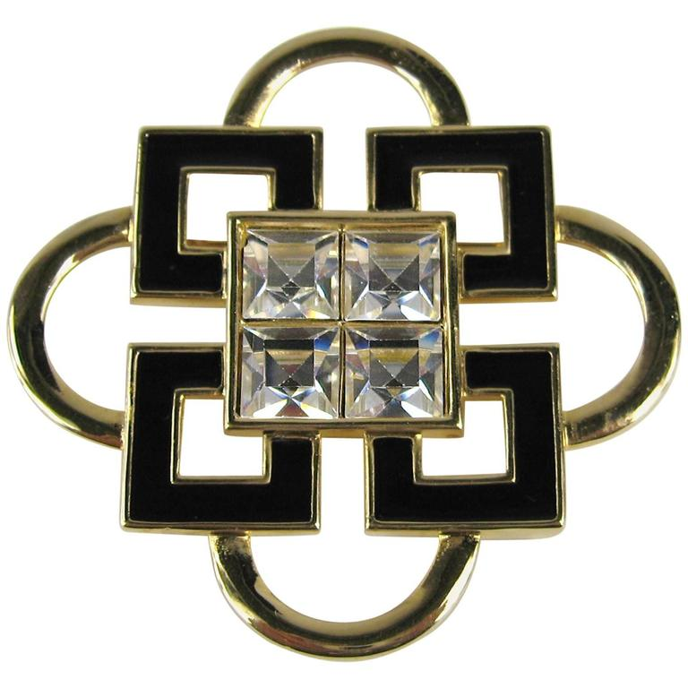 Stunning Vintage SWAROVSKI Black Enamel Gold Gilt Brooch Never Worn  For Sale