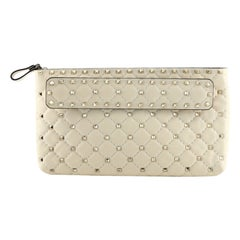 Valentino Rockstud Spike Clutch Quilted Leather