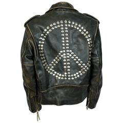 Moschino Vintage Iconic Peace Leather Jacket Circa 1990