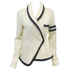 Balenciaga Fitted Ivory Wool Jersey Jacket With Shawl Collar and Black Trim