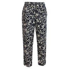 Moschino Black White Cotton Iconic Trousers