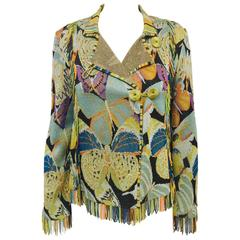 Missoni Multi Color Abstract Knit Cardigan With Fringe