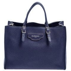 Balenciaga Navy Blue Leather Papier A6 Tote