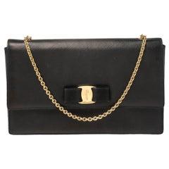 Salvatore Ferragamo Black Leather Vara Bow Chain Bag
