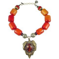 Magnificent Masha Archer Barrel Bead Necklace With Amber Heart Drop