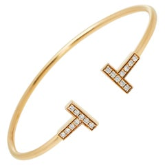 Tiffany & Co. Tiffany T Wire Diamond 18K Rose Gold Bracelet