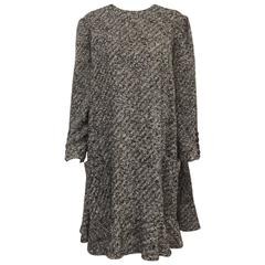 Vintage Bill Blass Tweed Coat Dress With Rear Button Closure Size 14