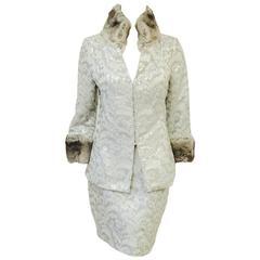 Dolce & Gabbana Rabbit Trimmed  Platinum Metallic Brocade Skirt Suit