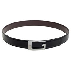 Gucci Black/Brown Glossy Leather G Buckle Reversible Belt 95CM