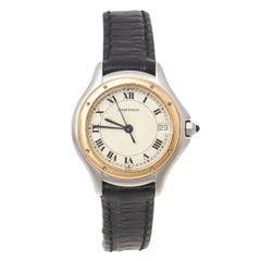 Cartier Cream 18K Yellow Gold Panthere Cougar 187906 Women's Wristwatch 26 MM
