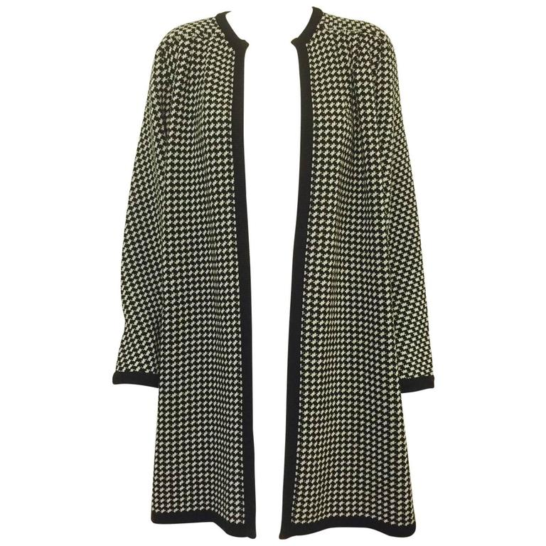 Valentino Miss V Wool Houndstooth Sweater Swing Coat