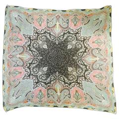 Etro Multi Color Paisley Sheer Silk Giant Scarf With Crochet Hem