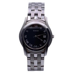 Gucci Silver Stainless Steel Mod 5500 M Wrist Watch Quartz Black Dial